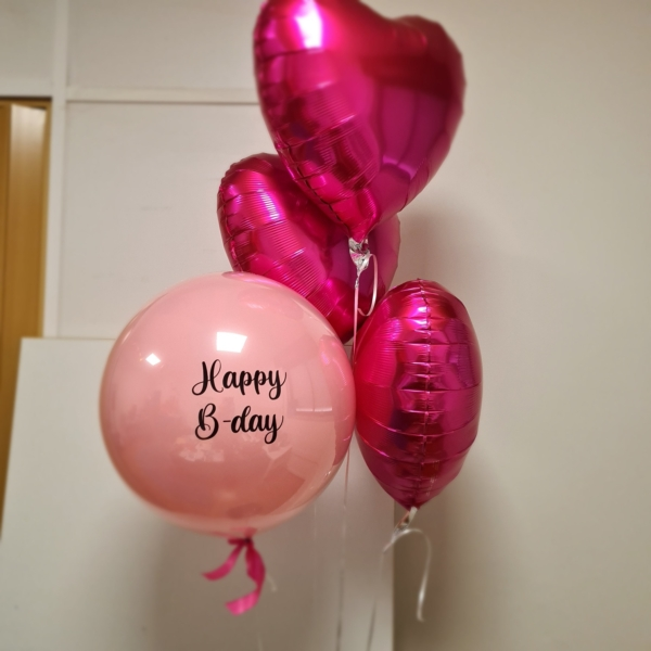Bday Pink Love balloons
